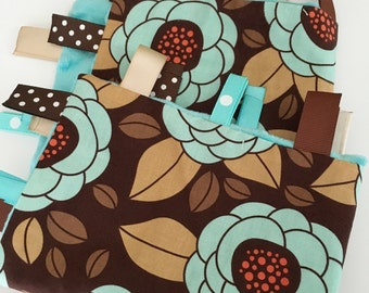 Quick Ship!...Lovey Ribbon Sensory Blanket...Aqua/Brown Flowers with Minky...Can Be Personalized...No Loops