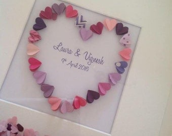 3d heart frame with coordinating heart confetti.