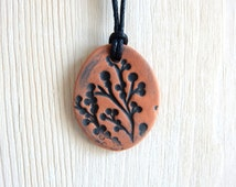 One of a kind Essential Oil Diffuser Yoga Pendant Necklace Aromatherapy Ceramic Nature Jewelry Terracotta Black Botanical Kiln Fired Pottery