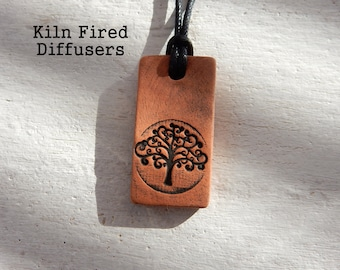 Tree of Life Mens Spiritual Diffuser Necklace Essential Oil Clay Aroma Yoga Pendant Kiln Fired Rustic All Natural One of a kind Gift for him