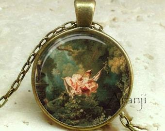 The Swing pendant, Fragonard's The Swing, fine art pendant, Fragonard necklace, Swing necklace, art necklace, art jewelry, Pendant #AR110P