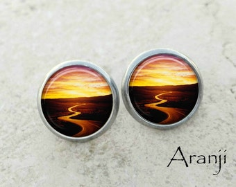 Glass dome sunset earrings, sunset earrings, sunset stud earrings, path stud earrings, into the sunset earrings SP195E