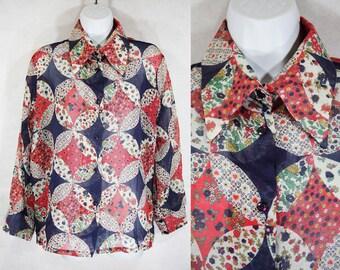 10 DOLLAR SALE---Vintage 60's Sheer Floral Blouse L