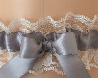 Silver and Ivory Lace Wedding Garter, Bridal Garter, Prom Garter, Garter Belt, Lace Garter, Plus Size Garter