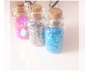 Glitter message in a bottle necklace