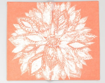 Coral Flower Throw Blanket, coral throw blanket, white blanket, flower throw blanket, floral throw blanket, coral flower blanket