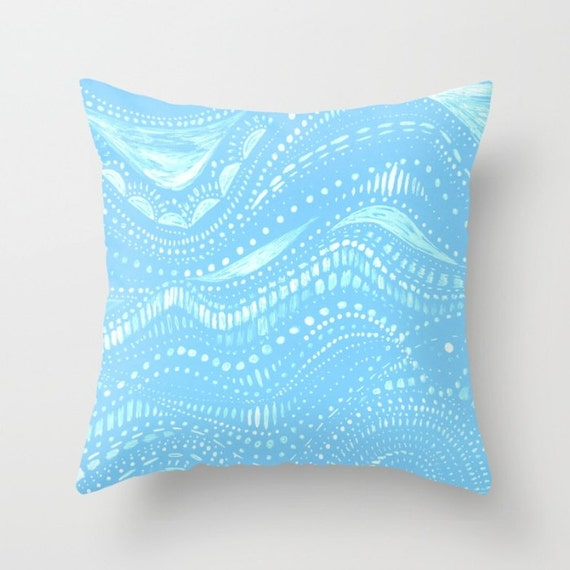 Items similar to Blue Abstract Throw Pillow Cover, light blue pillow, blue pillow cover, blue ...