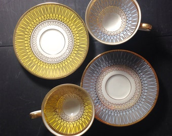 Pastel gold cups - mid century Bavaria small cups