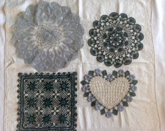 Vintage lace doilies / collection of doilies for your cottage / Square, round and heart shaped doilies / blue, green and cream doily