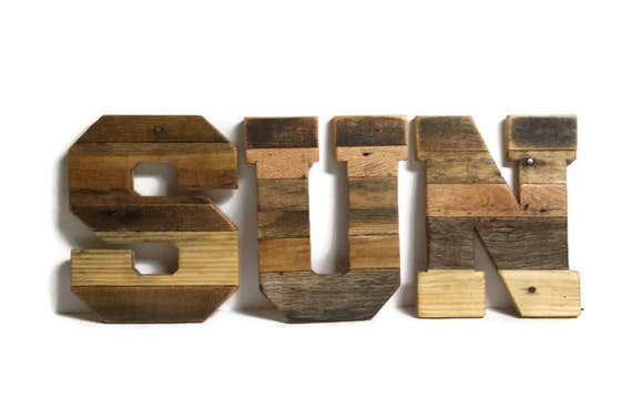 sun set of 3 pallet letters reclaimed wood letters rustic wood letters
