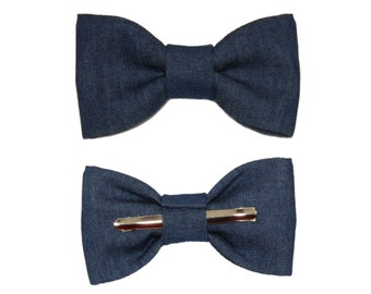 Dark Blue Denim Clip On Cotton Bow Tie Bowtie - Choose Men's or Boys Sizes