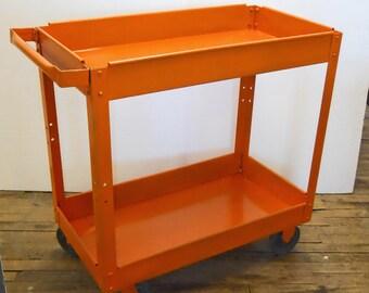 Metal Cart SALE Orange Paint Bar Cart In Process Refurbishing Vintage Industrial Cart Utility Cart  INV 10