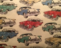 FLANNEL - Classic Car Fabric - Classic Vehicle Fabric - Chevy Fabric - Vintage Car Flannel - Vintage Vehicle Flannel