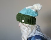 oversized hand knit . chunky slouch hat with pom pom  < pine green . seafoam . vanilla ivory >
