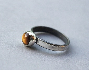 Silver ring, Handmade sterling silver ring with tiger's eye