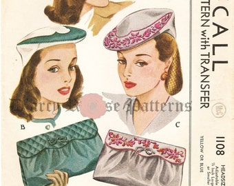 McCall 1108 Misses' Vintage 1940s Embroidered Hats and Bags Sewing Pattern