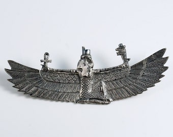 Goddess Isis, Isis Jewelry, Isis Pin, Egyptian Winged Isis, Vintage Egyptian Revival Winged Goddess Isis Pectoral Sterling Silver Pin