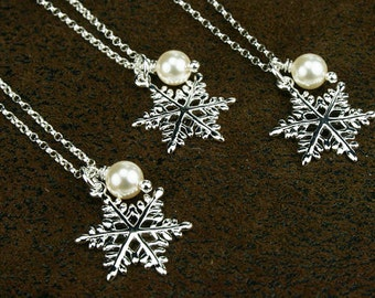 Snowflake necklace, SET OF 3, snowflake, snowflake charm, charm necklace, snowflake charm necklace, silver snowflake, charm pearl necklace