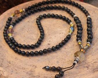 Beautiful black tourmaline gemstone mala necklace / wrist mala bracelet