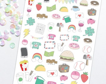 Printable Hand Drawn Stickers, doodle planner stickers, Planner Printable, Doodle Stickers, Drawing Stickers, Hand drawn graphics