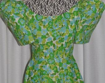 Vintage  Green Blue Flower  Dress Cotton 1950s