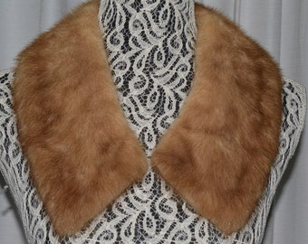 Vintage Lady Mink Collar Fur Collar Light Brown Mink Collar Genuine Fur Vintage Accessories