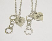 2 Partners In Crime Handcuff Heart Best Friend Necklaces BFF SISTERS COUPLES