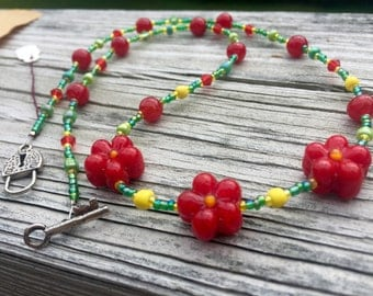 Summer Daze- Red & yellow beaded flower necklace set **INCLUDES** earrings