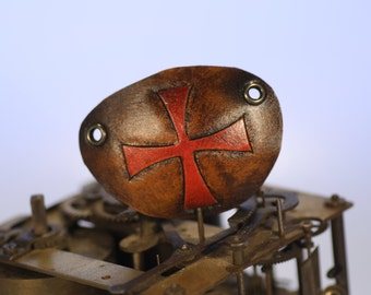 steampunk leather eye patch , malteze cross  (made to order)