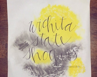 Wichita State Shockers Print, hand lettering, watercolor, yellow