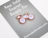 Rose Gold Enamel Bicycle Pin, lapel pin, Bicycle Enamel Pin, Bicycle Brooch, FREE UK SHIPPING
