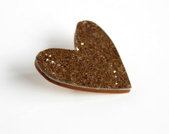 Bronze Glitter Heart Pin, Glitter Heart Brooch, Wooden Love Heart Brooch Pin, Christmas Pin