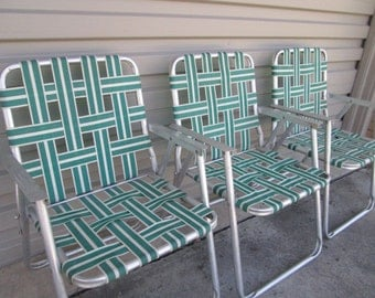 Vintage Metal Lawn Chairs Matching Set of Three Aluminum Folding Chairs