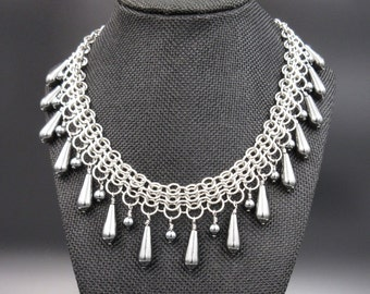 Graduated Hematite Chainmaille Necklace