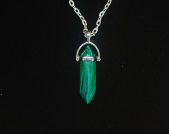 Green Crystal Point Necklace