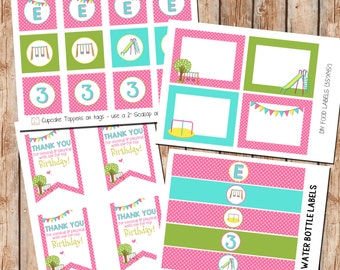 Playground Party Printables | Cupcake Toppers | Water Bottle Labels |Thank You Tags | Food Labels