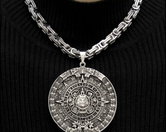 Aztec jewelry etsy large 3 76mm aztec calendar stone pectoral medallion antique finish medallion on 8mm byzantine stainless aloadofball Image collections