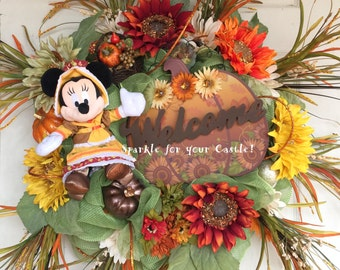 Minnie Mouse Fall Wreath, Minnie Mouse Thanksgiving Wreath, Fall Thanksgiving Wreath