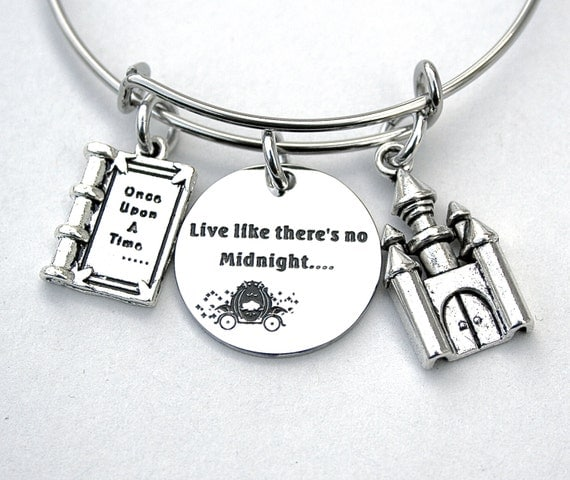 Live Like There's No Midnight, Cinderella Inspired Charm Bangle, Stainless Steel, Fables and Fairytale, Gift For Her, Once Upon A Time