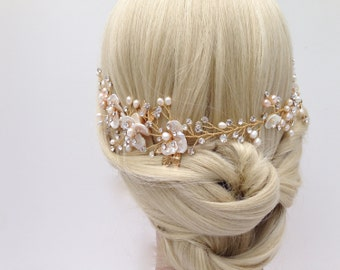 Bridal Wedding Hair Vine With Ivory And Champagne Freshwater Pearls And Crystals, Halo, Ribbon Tie Headband, Wedding Headpiece, Color Choice