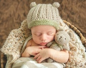 Newborn {My First Teddy Bear} Bear Beanie & Tiny Stuffed Teddy Bear Photography Prop Set, {Born to be Wild} Collection