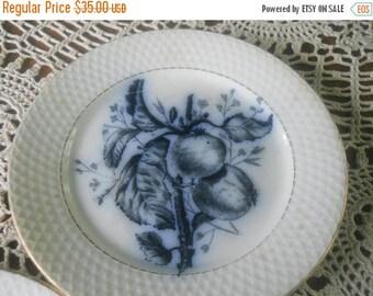 1890s Antique FLOW BLUE Plates Pomegranate Flow Blue China Cobalt Blue and White Decor P Regout Cc Maastricht Flow Blue China Fruit Decor