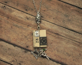 Quilters Seamstress Yard Stick Ruler Necklace - Bronze and Silver - Handmade