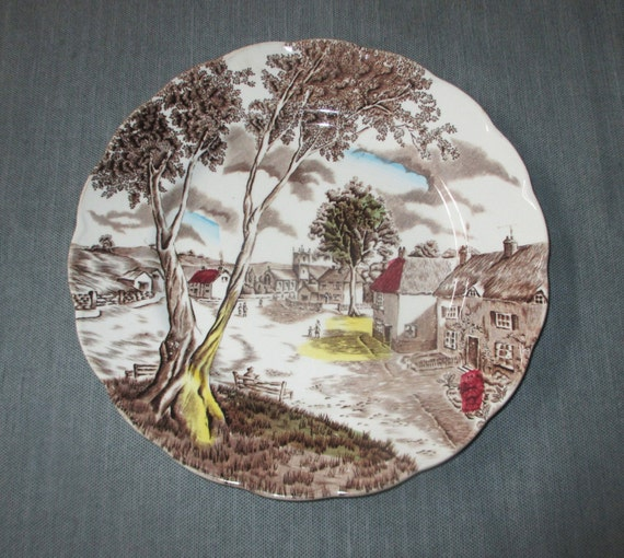 "WH Grindley SUNDAY MORNING 9-7/8"" Brown Transferware Dinner Plate, Multicolor Hand Tinted (c. 1950s)"