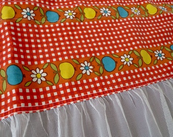 Scandinavian floral curtains - Swedish valance mod retro 1970s vintage fabric red flowers