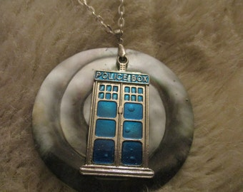 Doctor Who inspired Timey Wimey Tardis necklace OOAK