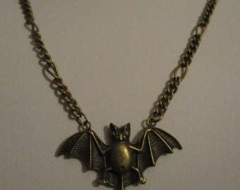Vampire Bat necklace - antique bronze