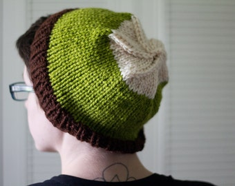 knit hat - red green white colorblock, handknit
