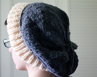 knit hat - blue white extra slouchy, hand knit