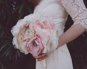 Blush fabric bouquet, brooch bouquet, bride bouquet, fabric wedding bouquet
